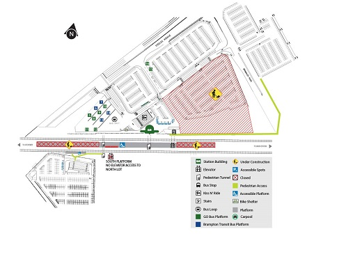 Map of construction at Bramalea GO starting August 8