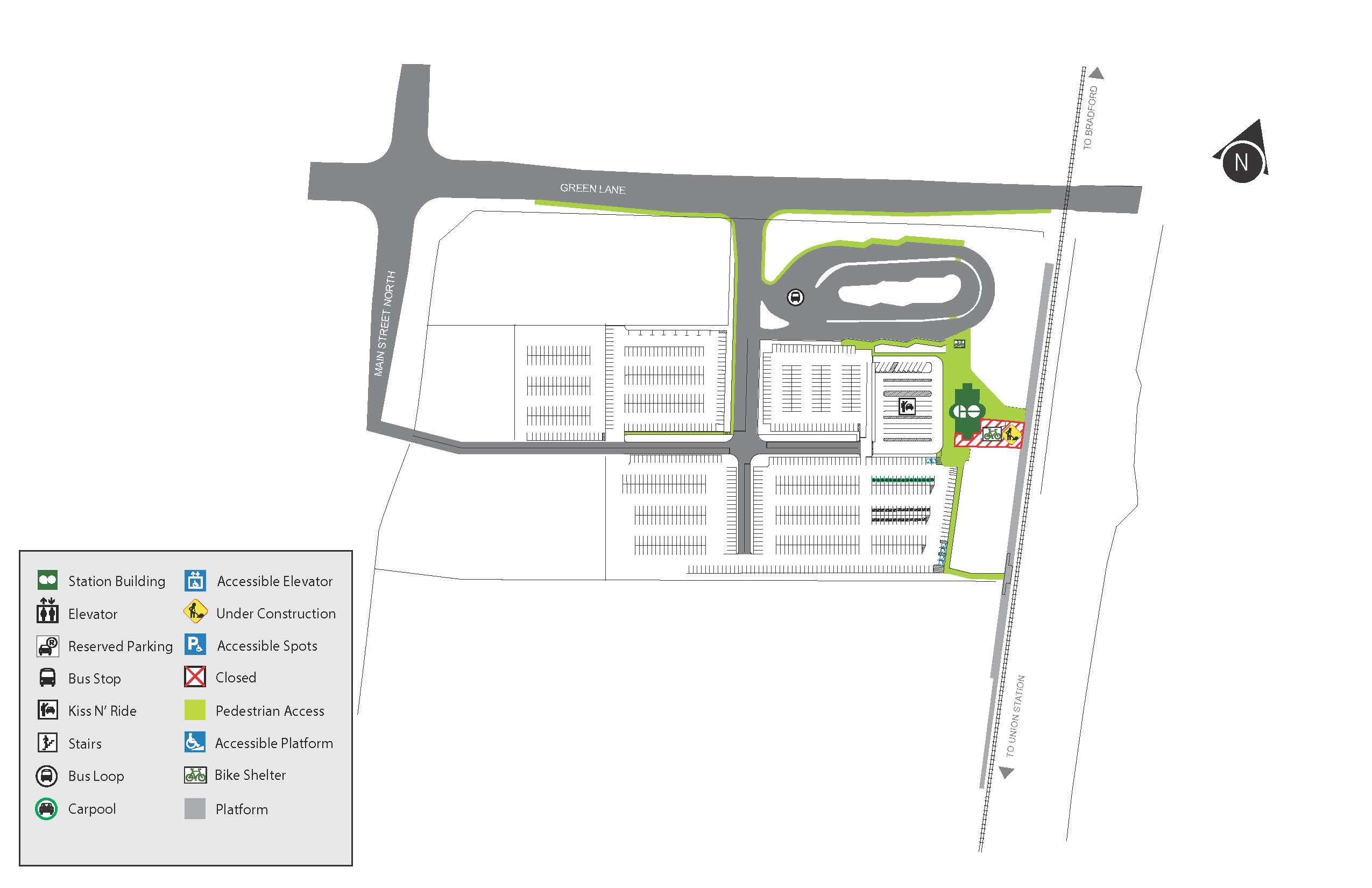 Map of construction area at East Gwillimbury GO