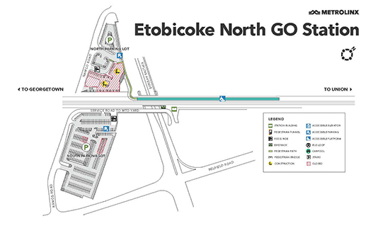 Etobicoke North station map during Hydro One construction