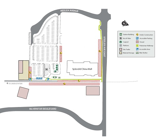 Map showing parking space closures at Milliken GO Station
