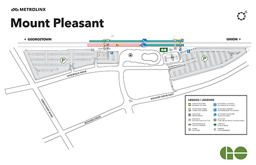 Carte de construction de la gare GO de Mount Pleasant