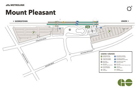 Mount Pleasant GO station platform 1 west construction map preview