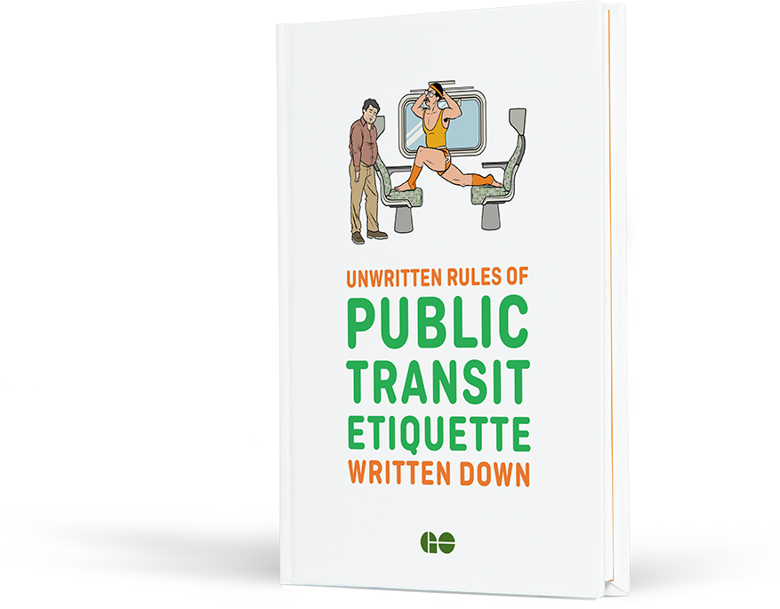 Illustration of a book cover reading 'Unwritten Rules of Public Transit Etiquette Written Down'.