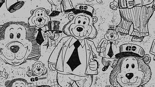 Various  drawings of GO Transits mascot; GO Bear.