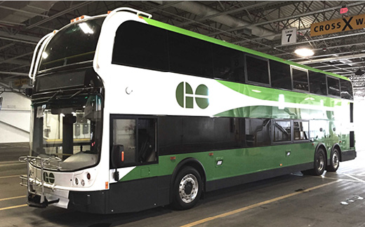 Photo of a new double decker GO Bus.