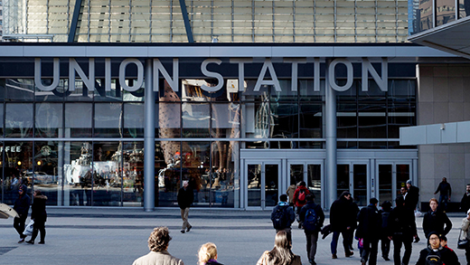 Photo of Union Station exterior in Maple Leaf Square.