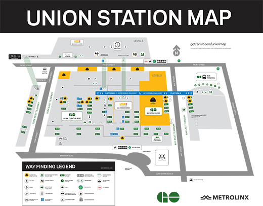 PDF of the GO Transit Union Station map identifying a variety of amenities and construction.