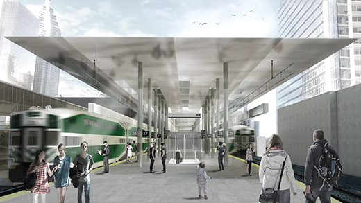 Rendering of passengers on the train platform at Union Station as a GO Train departs.