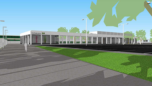 Alternate angle rendering of the exterior of the soon to be built Confederation GO Station.