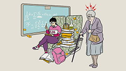 Illustration from the GO Transit Etiquette Campaign with bags and books on seats as an elderly customer looks to use the seat.