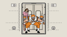 Illustration from the GO Transit Etiquette Campaign with customers blocking the doorway, while another passenger tries to get out.