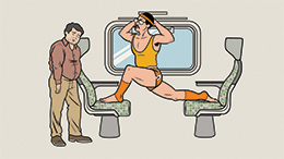 Illustration from the GO Transit Etiquette Campaign with a customer's feet on seats, as another customer waits to use the seat.