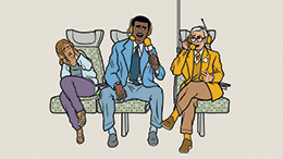 Illustration from the GO Transit Etiquette Campaign with customer's talking loudly to one another, as another customer covers their ears.