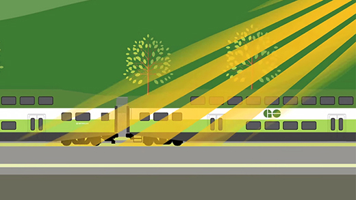 Illustration of a GO Train travelling in the summer time.