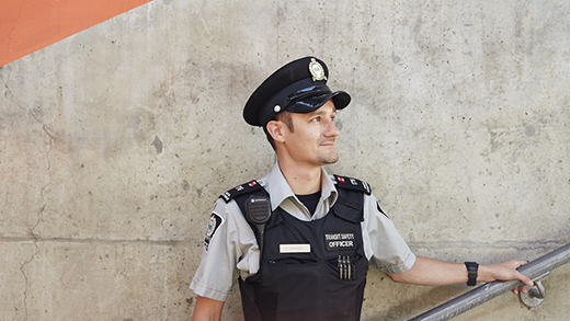 Photo of a Transit Safety Officer in a stairwell at a GO Station.