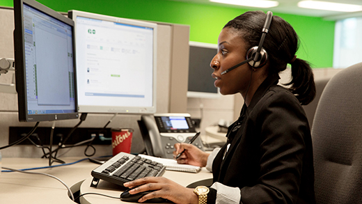 "Photo of a customer service agent in the call centre, related to the ""always here to help"" story."