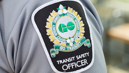 "Photo of the Transit Safety Officer crest on a uniform, related to the ""our hero"" story."