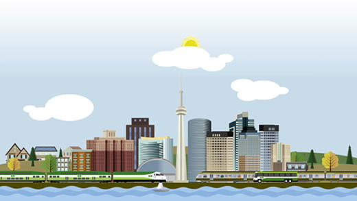 Illustration of a GO Train, GO Bus, and UP Express train, with the Toronto skyline in a background and an airplane departing.