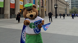L'ours GO encourageant les Blue Jays (2015)