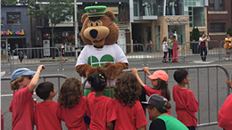 GO Bear at a parade (2016)