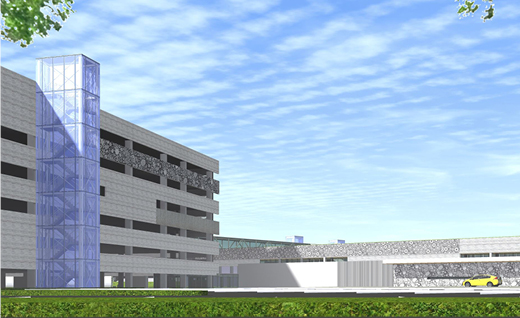 View of the new parking garage; working concept that is subject to change.