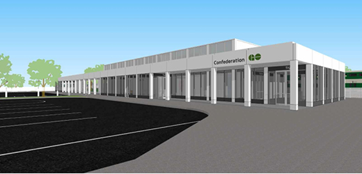 A rendering of the exterior of the soon to be built Confederation GO Station and its parking lot.