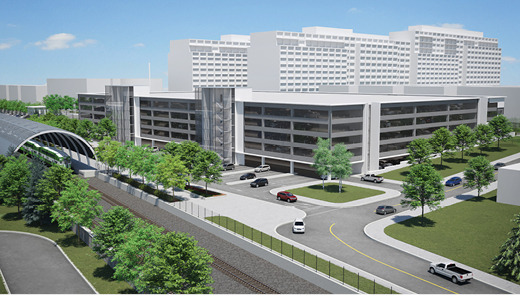 Rendering showing proposed parking garage and upgrades to the exterior of the Maple GO Station.