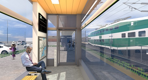 Rendering of person sitting inside new platform shelter
