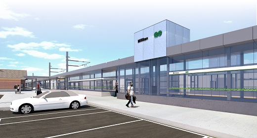 Rendering of new station exterior
