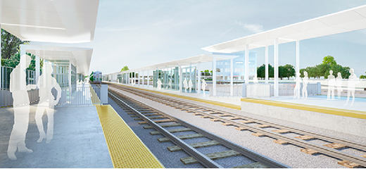 A view of two tracks and platforms with canopies at the future Mount Dennis GO Station; working concept that is subject to change.