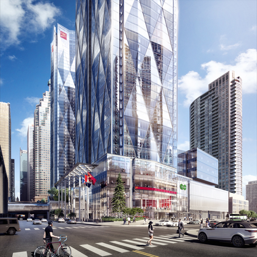 Rendering of exterior of the new Union Station bus terminal that is being built on the east side of Bay Street, across from the Scotiabank Arena.