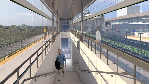 Rendering of a stairwell and tunnel leading to a new platform