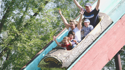 Family on the Centreville flume ride