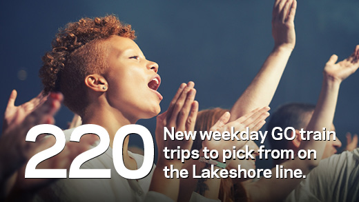 220 New weekday GO train trips to pick from on the Lakeshore line.