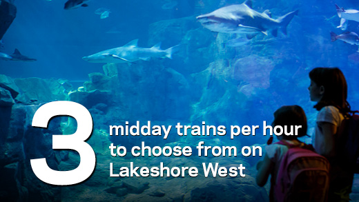 3 midday trains per hour to choose from on Lakeshore West