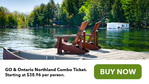 Muskoka chairs on dock on lake GO and Ontario Northland Combo ticket starting at $38.96 per person buy now
