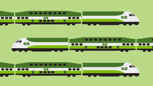 Illustration of three GO trains travelling in different directions