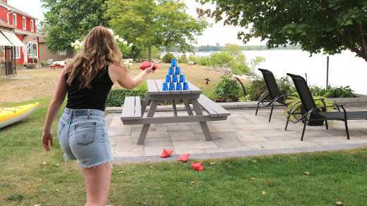 Homemade ball toss game