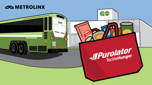 Graphic of GO Transit vehicle with Purolator truck for holiday food drive