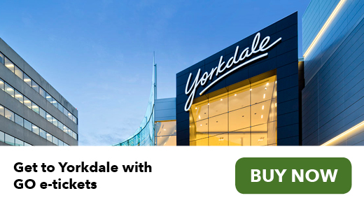 Get to Yorkdale with GO e-tickets. Buy now.
