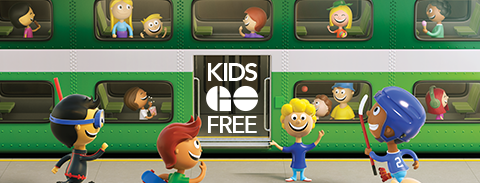 Fun illustration of happy kids taking the GO train