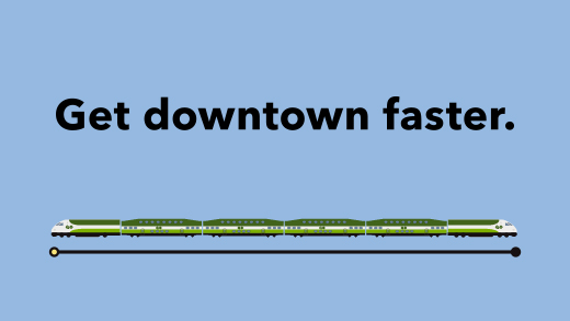 GO Train travelling between two stations, Get Downtown Faster