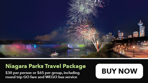 Niagara Parks Travel Package. $30 per person or $65 per group, including round trip GO fare and WEGO bus service.