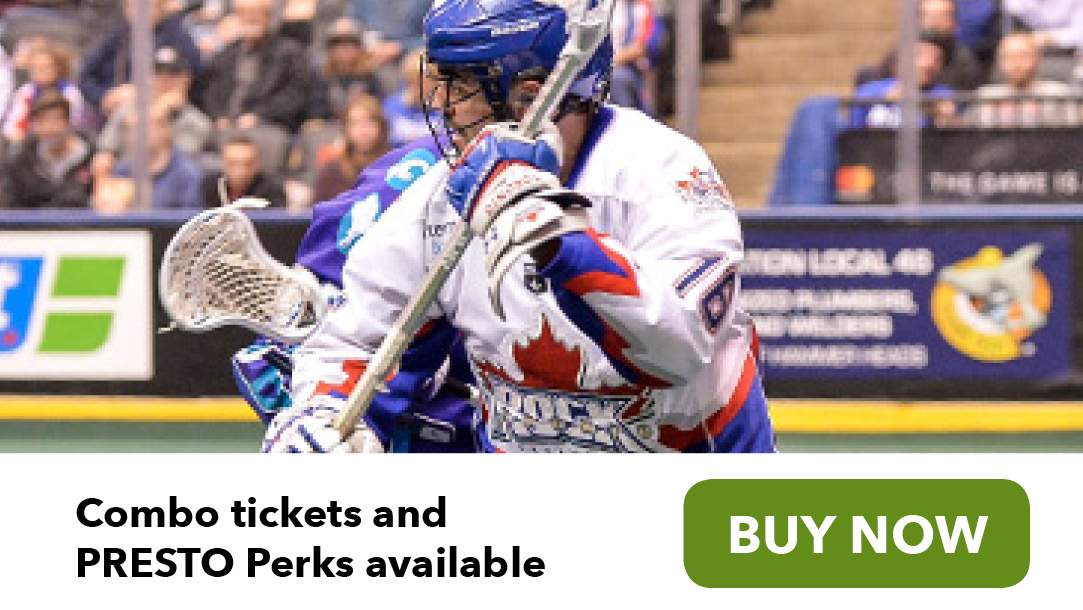 Toronto Rock Lacrosse player combo tickets and PRESTO perks discount available buy now