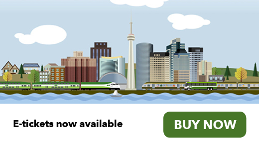 Illustration of a GO Train, GO Bus, and UP Express train, with the Toronto skyline in a background and an airplane departing. Buy now